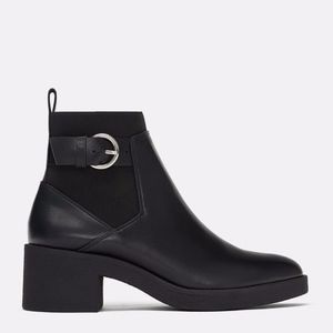 Zara Black Buckled Chelsea Ankle Boots